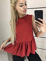 Женская блуза-майка с баской /разные цвета, 42-46, ft-2005/, фото 3