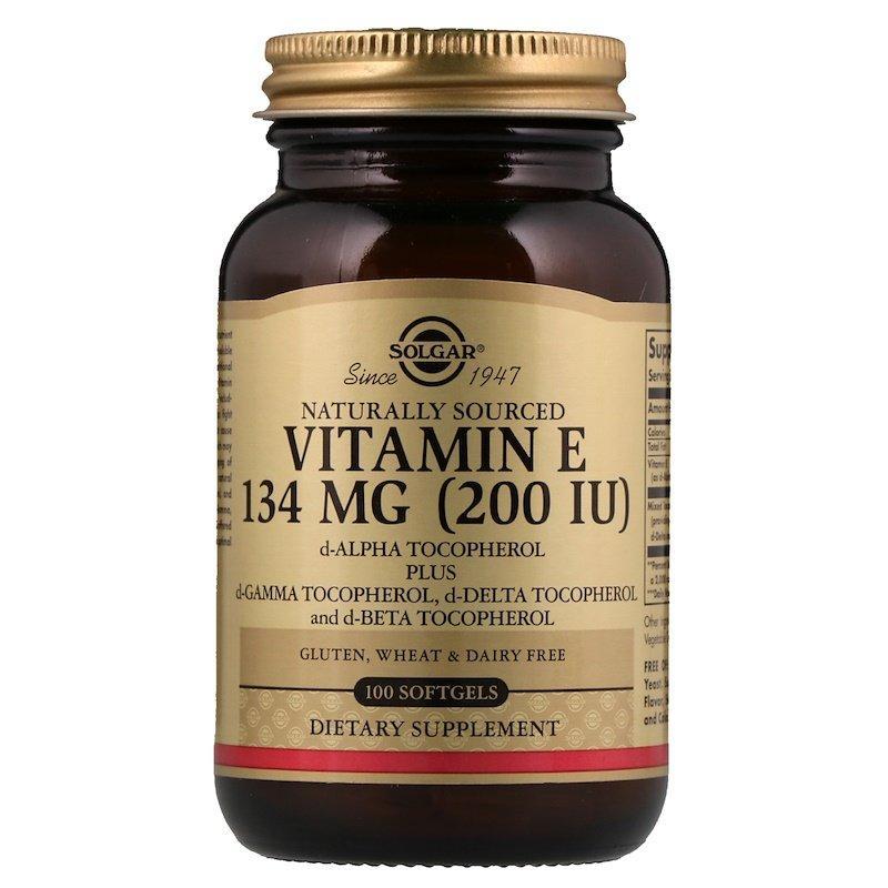 "Витамин Е, SOLGAR ""Naturally Sourced Vitamin E"" 200 МЕ, со смешанными токоферолами (100 гелевых капсул)"