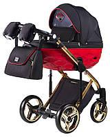Детская коляска 2 в 1 Adamex Chantal Polar (Gold) C3-A черный с красным, фото 1