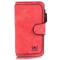 Женский замшевый клатч кошелек Wallerry красный, фото 1
