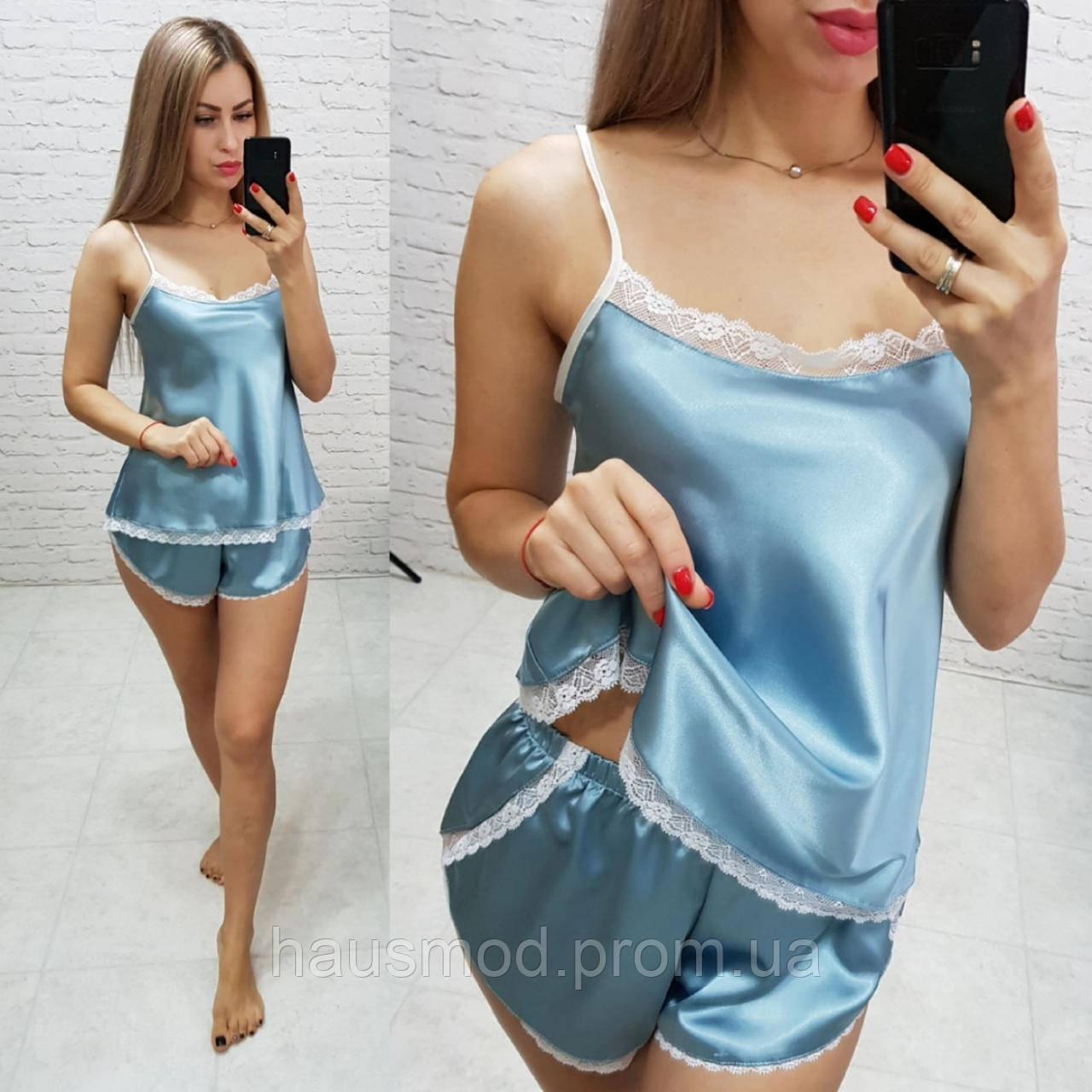 Женский комплект для сна ткань шелк Армани качество Люкс размеры S-M, L-XL цвет шалфей