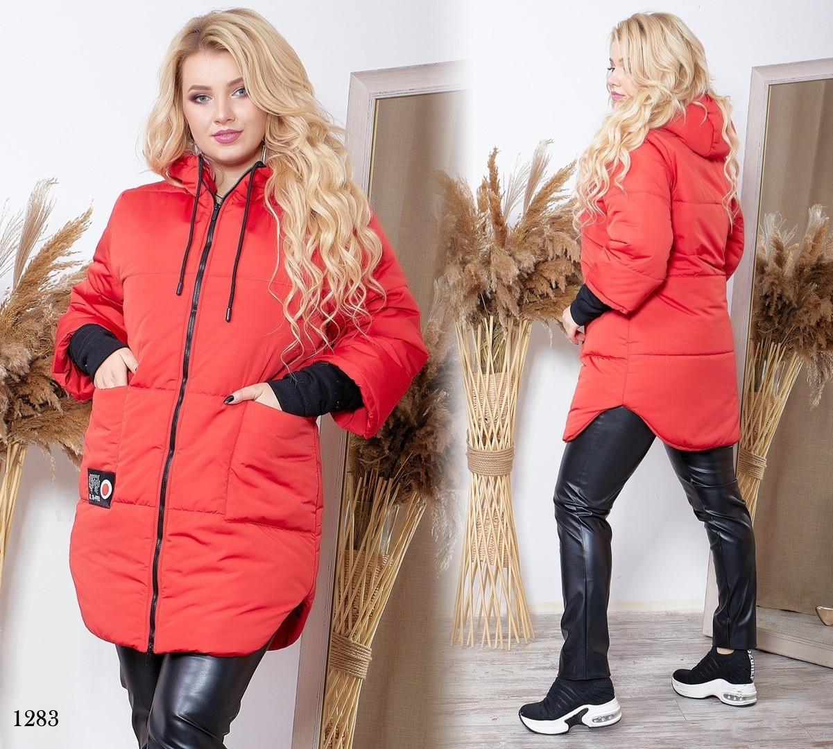 Куртка с капюшоном женская на змейке плащевка Канада+200 синтепон 48-50,52-54,56-58,60-62