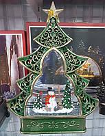"""Новорічний декор лампа - """"Ялинка"""" зі снігом Дід мороз і сніговик"""