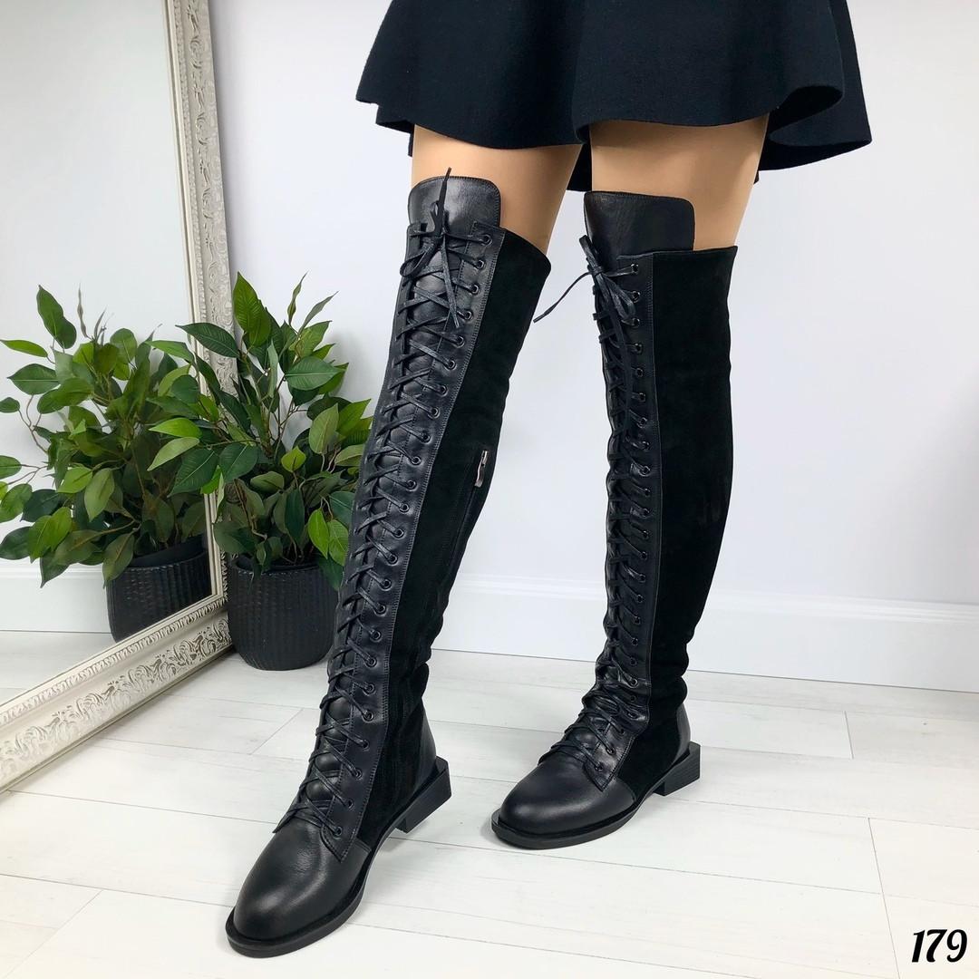 Зимние сапоги ботфорты без каблука