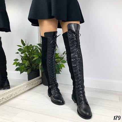 Зимние сапоги ботфорты без каблука, фото 2