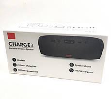 Портативная bluetooth колонка блютуз акустика для телефона с флешкой повербанк серая CHARGE3, фото 3