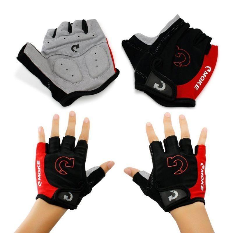 Велосипедні рукавички без пальців,гель. Велосипедні рукавиці MOKE червоний, M