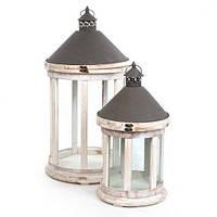 Фонарь декоративный Подсвечник белый деревянный, стекло, металл для сада или дома, дачи