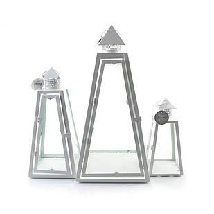 Фонарь декоративный белый для дома стекло металл комплект