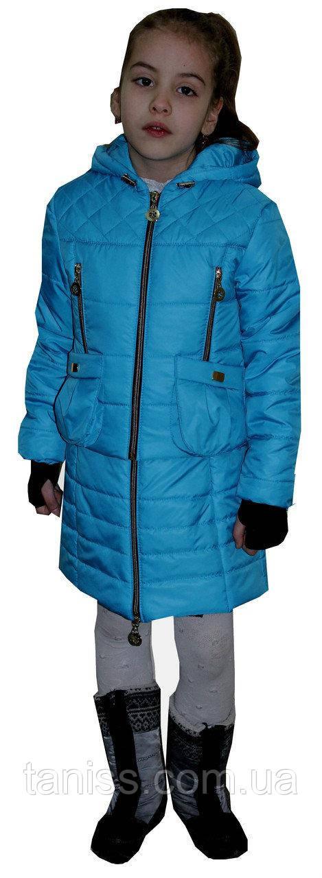 Купить Демисезонный, детский комплект сарафан с курткой, размеры 34, 36, цвет голубой ( 1)дитяча демісезонна куртка