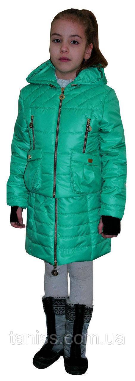 Купить Демисезонный, детский комплект сарафан с курткой, размеры 34, 36, цвет мята ( 1)дитяча демісезонна куртка
