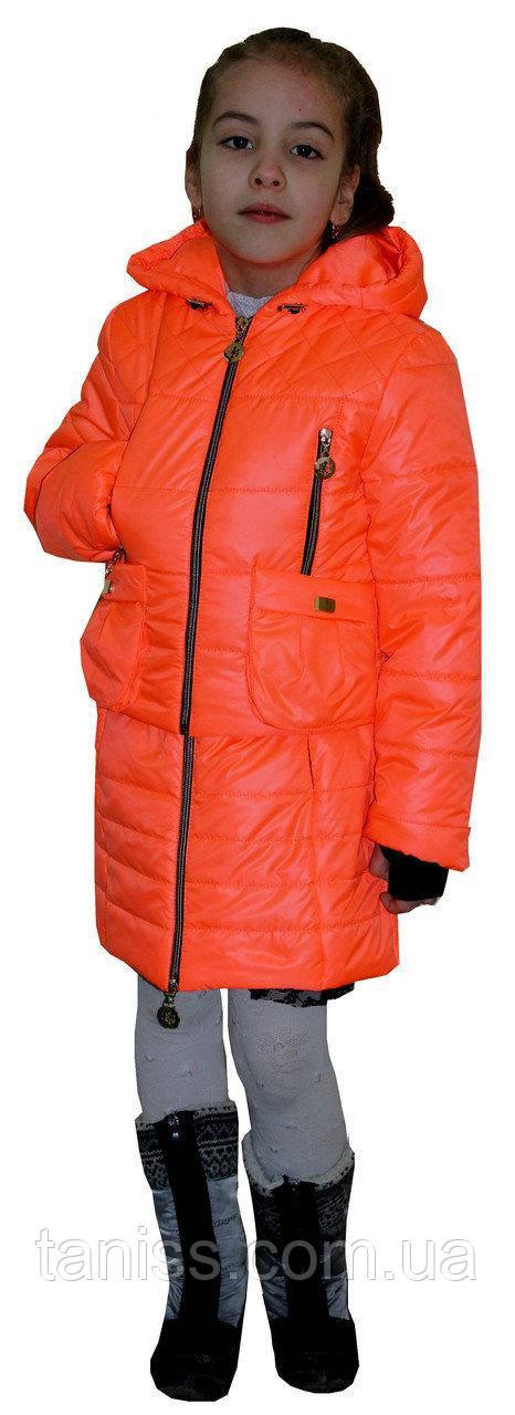 Купить Демисезонный, детский комплект сарафан с курткой, размеры 34, 36, цвет оранжевый( 1)дитяча демісезонна куртка
