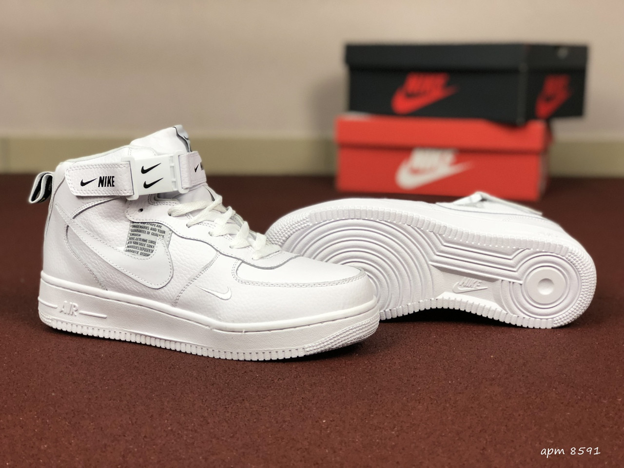 Мужские зимние кроссовки Nike Air Force (белые)