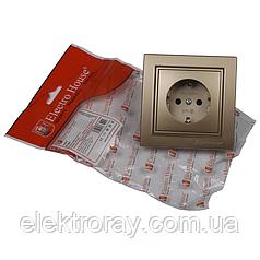 ElectroHouse Розетка с заземлением роскошно золотой Enzo EH-2109-LG