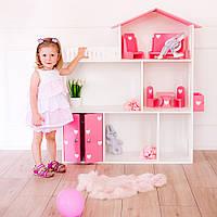 Кукольный домик KiddyRoom 3 этажа Белый с розовым