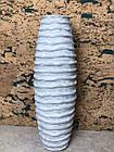 Ваза для квітів декоративна ребриста сіра біла кераміка, фото 2