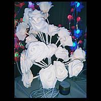 Букет Цветущая роза, 50 см, 60 LED ламп, тепло белый, фото 1