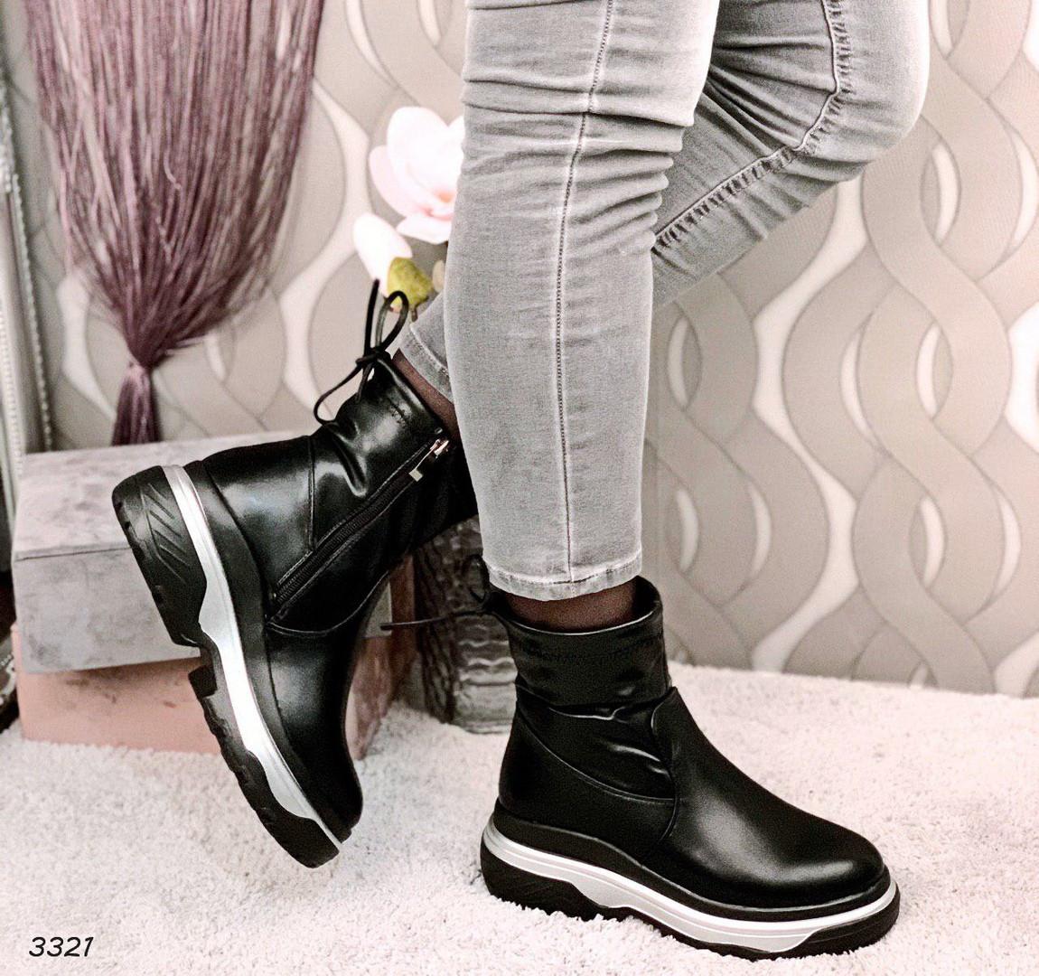Ботинки женские зимние черные эко- кожа :)В НАЛИЧИИ ТОЛЬКО 36р