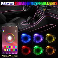 RGB разноцветный Неон в авто • Холодный неон • Неоновая подсветка • Гибкий неон • Неон • Длинна 4 метра