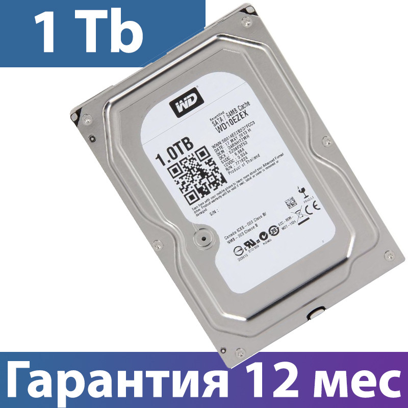 "Жесткий диск для компьютера 3.5"" 1 Тб/Tb WD, SATA3, 64Mb, 7200 rpm (WD10EZEX)"