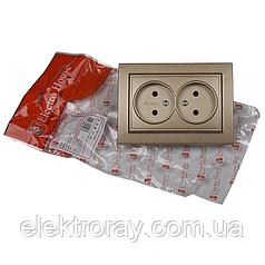 ElectroHouse Розетка двойная б/з золотой Enzo EH-2110-LG