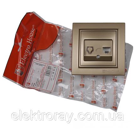ElectroHouse Розетка компьютерная золотой Enzo, фото 2