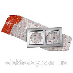 ElectroHouse Рамка двойная серебро Enzo