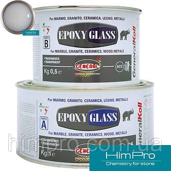 EPOXY GLASS  1,5kg General Эпоксидный морозостойкий клей прозрачно-молочный
