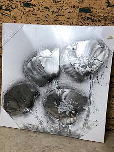 Картина фотокартина велика чорно-біла Маки