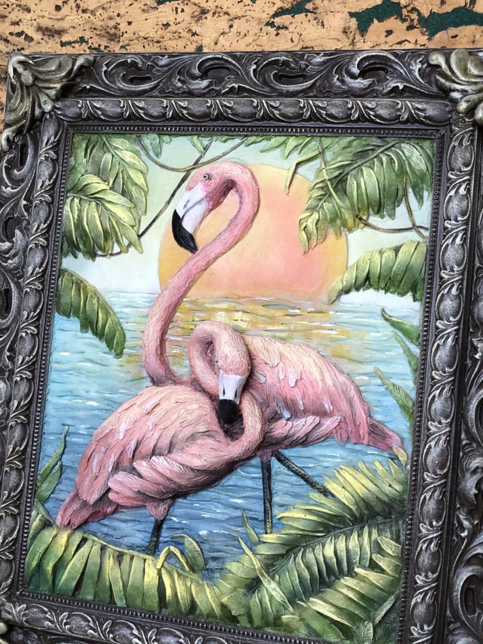 Об'ємна вінтажна картина Фламінго з металевої різьблений рамкою