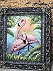 Об'ємна вінтажна картина Фламінго з металевої різьблений рамкою, фото 2