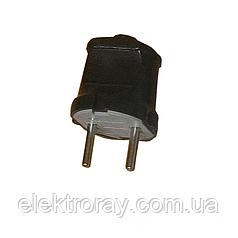 ElectroHouse Вилка без заземления черная Garant