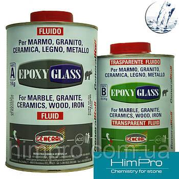 EPOXY GLASS fluido 1.5kg General Эпоксидный жидкий морозостойкий клей прозрачный