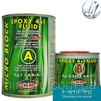MICRO BLOCK Epoxy 4+1 FLUID 1,25kg General Эпоксидная очень  жидкая смола  прозрачный