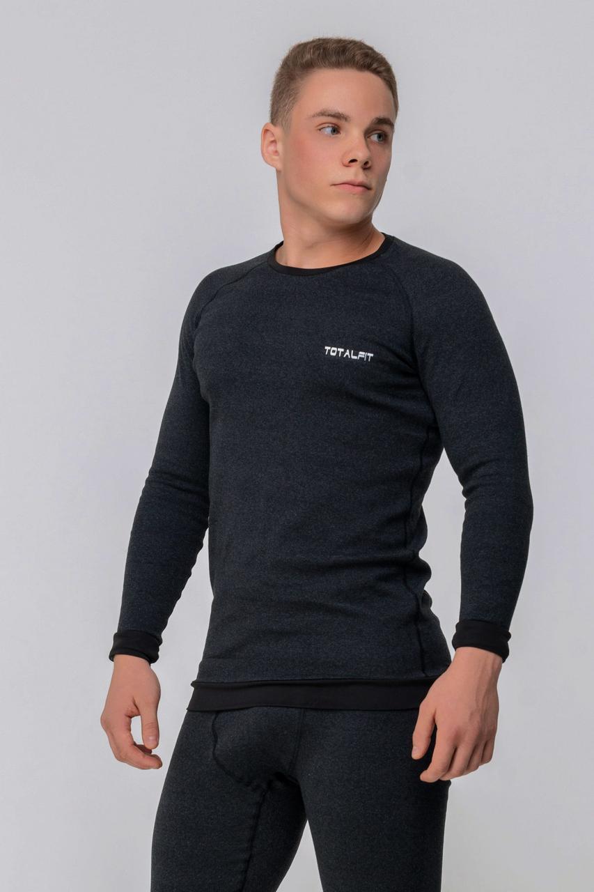 Супертеплая  мужская термофутболка Totalfit Extra TMR1-VH9 3XL Темно-серый