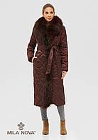 Пальто плащ стеганое длинное зимнее с опушкой из чернобурки бордо