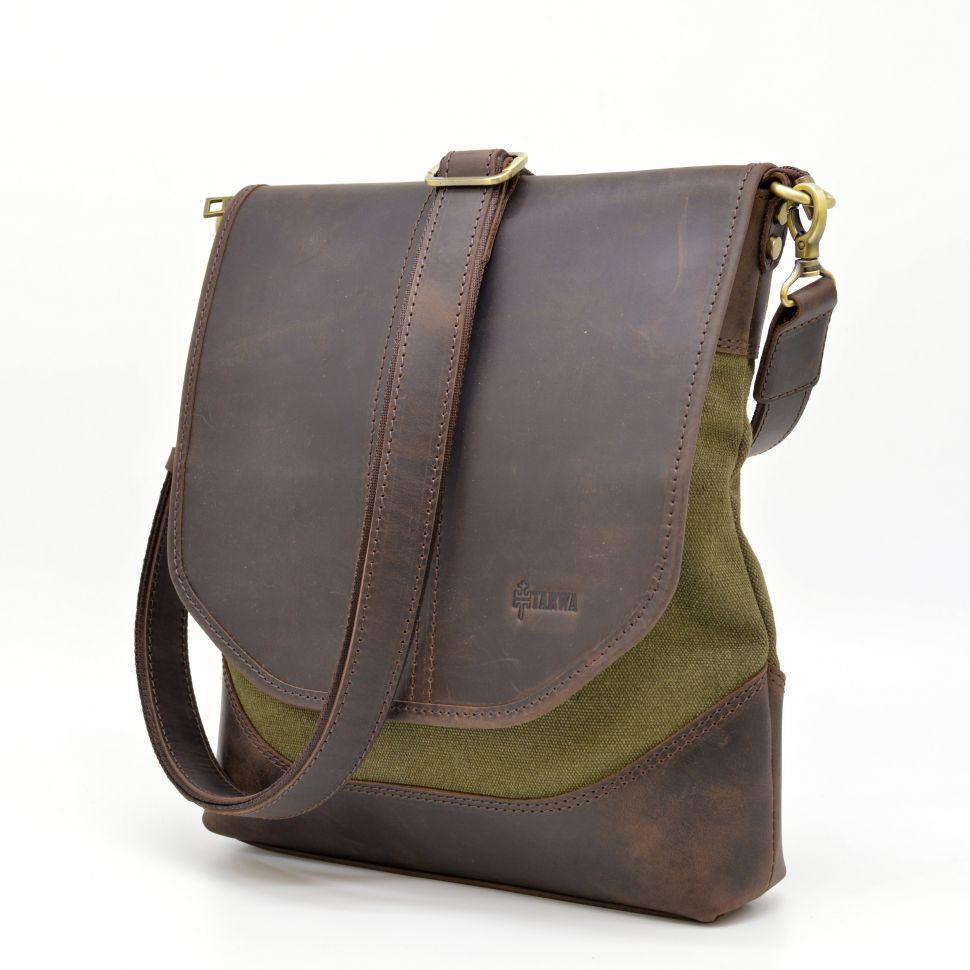 Мужская сумка через плечо из кожи и канвас RH-18072-4lx TARWA