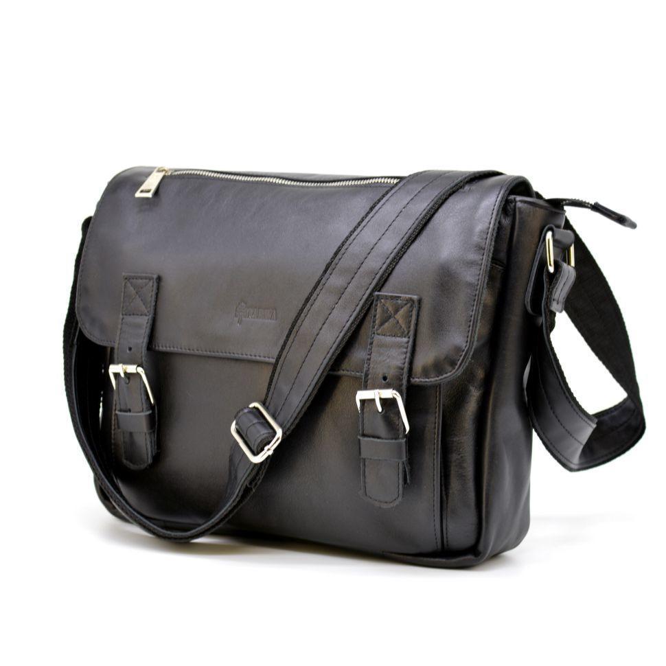 Чоловіча шкіряна сумка через плече з ручкою, підкладка - шкіра TARWA, GA-6046-1md