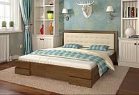 Двоспальне ліжко Арбор Древ Регіна 160х200 сосна (DS160) Оббивка оливковий колір (BOSTON 11) Горіх
