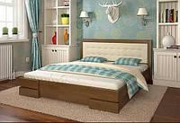 Двоспальне ліжко Арбор Древ Регіна 160х200 бук (DB160) Оббивка білий колір (BOSTON 26) Білий (структура дерева не проглядається)