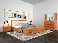 Двоспальне ліжко Арбор Древ Регіна Люкс 160х200 сосна (LS160) Оббивка молочний колір (BOSTON 00) Темний Горіх