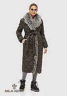 Пальто плащ стеганое длинное зимнее с опушкой из чернобурки черное