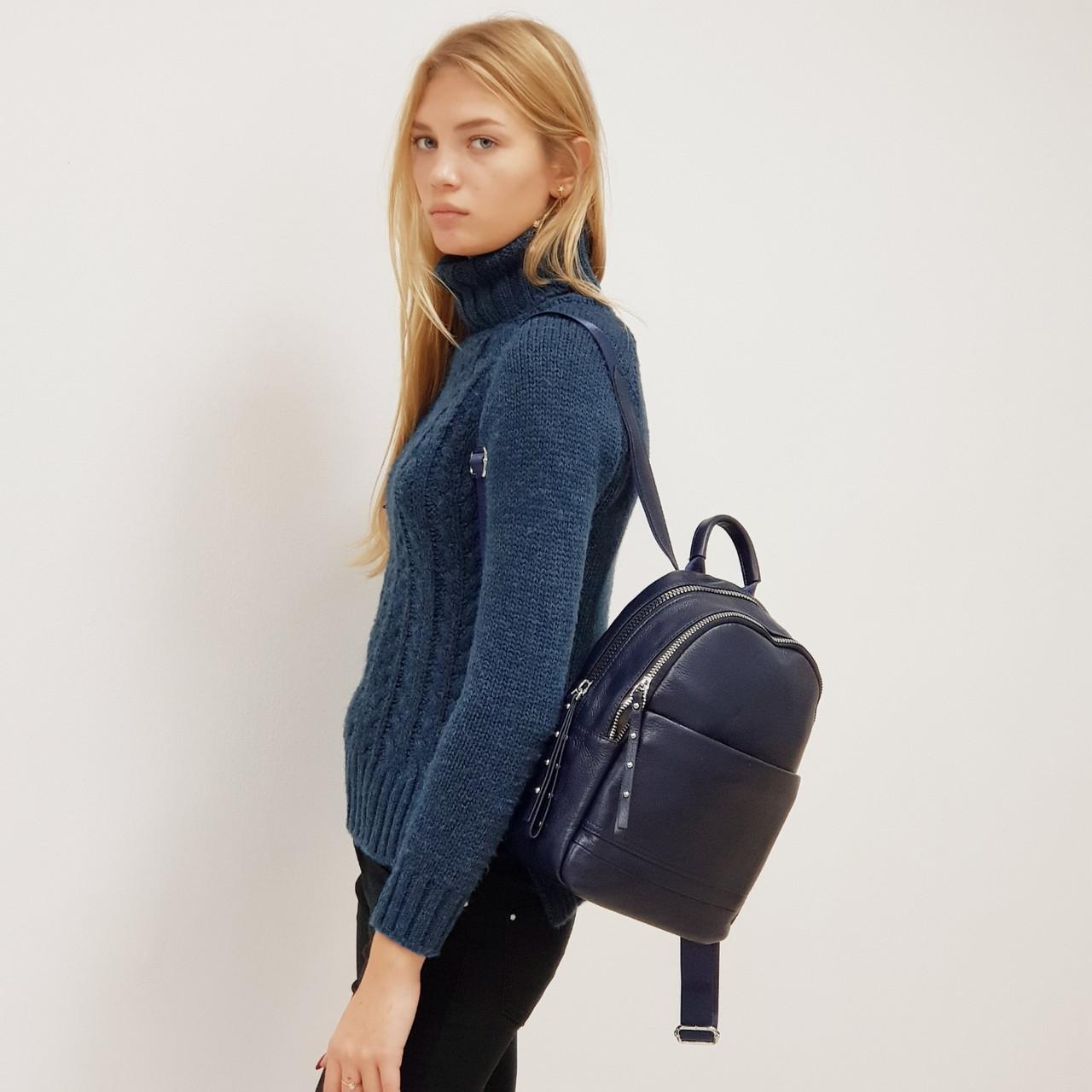 Рюкзак жіночий з натуральної шкіри міської синій