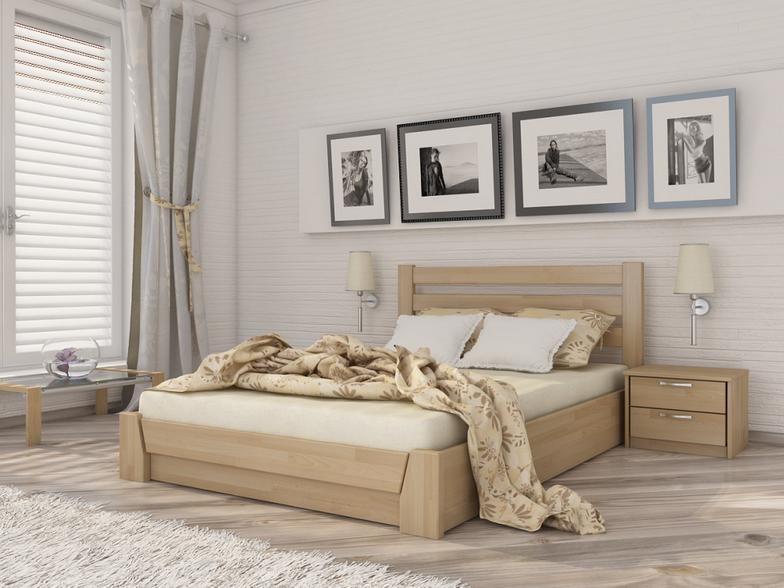 Двоспальне ліжко Естелла Селена з підйомним механізмом 120х200 буковий щит (LP-01)