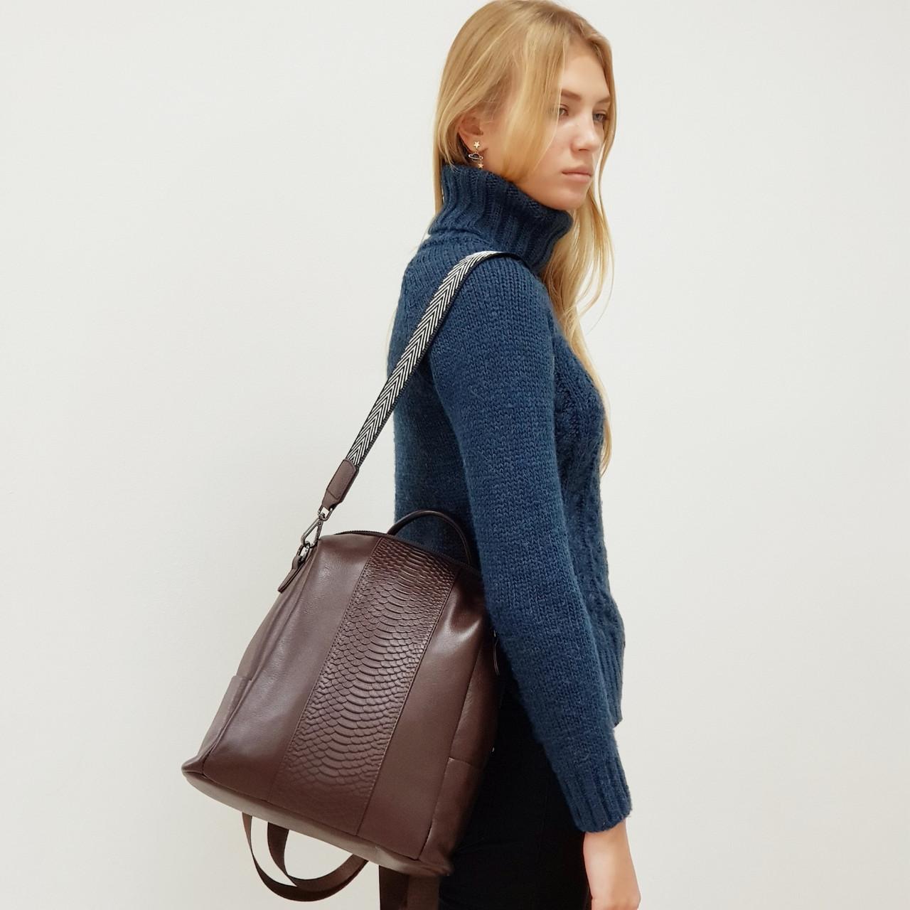 Рюкзак-сумка женский из натуральной кожи городской  коричневый