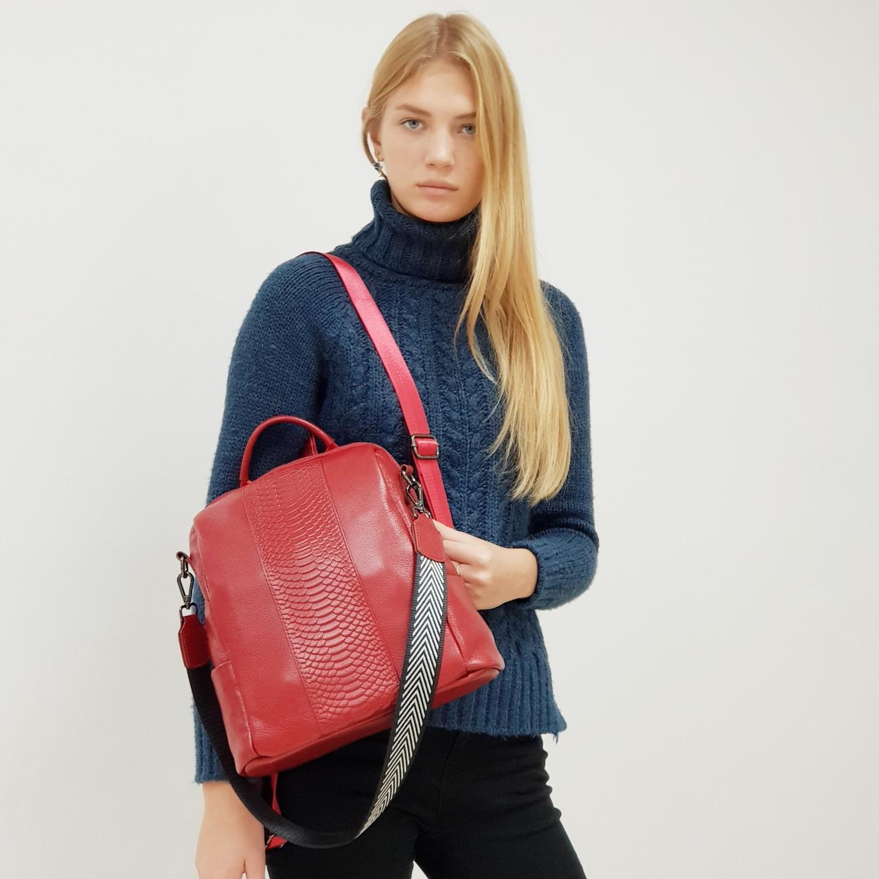 Рюкзак-сумка  женский из натуральной кожи городской  красный