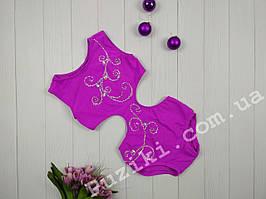 Малиновый эластичный купальник для гимнастики и Pole dance 116-122 р