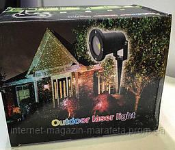 Лазерный звездный точечный проектор OUTDOOR LASER LIGHT для дома и улицы с металлическим корпусом/ точки