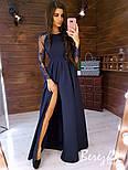 Женское элегантное вечернее платье в пол с разрезом и кружевными рукавами (в расцветках), фото 3