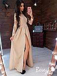Женское элегантное вечернее платье в пол с разрезом и кружевными рукавами (в расцветках), фото 2